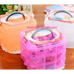 Portable 3 Layer Multi-function Jewelery Box 创意三层塑料收纳盒透明