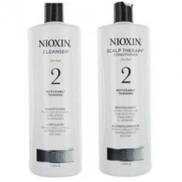 Nioxin System 2 Cleanser & Scalp Therapy Duo Set for noticeably thinning, fine, natural hair (1 Liter)