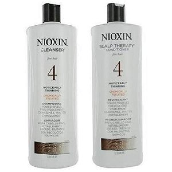 Nioxin System 4 Cleanser & Scalp Therapy Duo Set for noticeably thinning & chemically-treated hair (1 Liter)