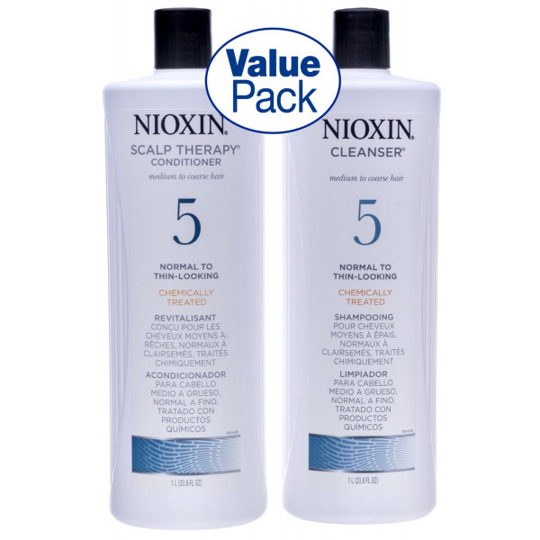 Nioxin System 5 Cleanser & Scalp Therapy Duo Set for medium coarse & chemically-treated hair (1 Liter)